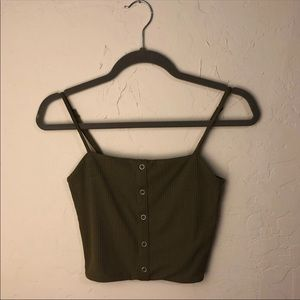 olive pacsun tank button up top